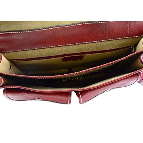 Cartella In Vera Pelle Colore Rosso - Pelletteria Toscana Made In Italy - Business
