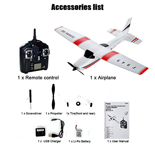 Remote Control Airplane for Beginners &Intermediate Flight Game Players F949 3CH 2.4G RC Airplane RTF Glider EPP Composite Material 14+,Designed According To Cessna-182 Plane (White) by succeedtop ❤️ Ship from US ❤️ (Image #6)