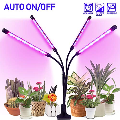 LED Grow Light for Indoor Plants 18W, HOHOTIME Plant Growing Lamp with 3/9/12 Hours Timer, 10 Levels of Adjustable Brightness, 72 LED Light Bulbs, Clip-On Desk Clamp, Full Spectrum