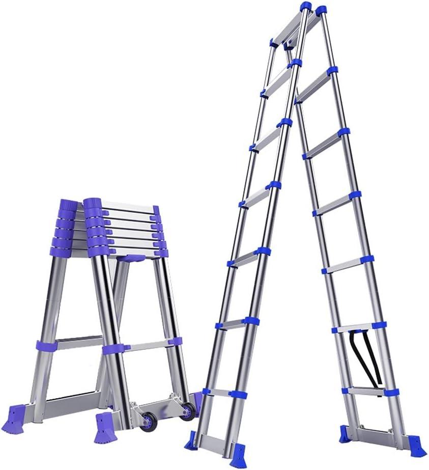 Escalera extensible Escalera telescópica De Aluminio Escalera Telescópica A-Frame for Escaleras Loft Azotea, Multiusos De La Escalera De Extensión Ligera con Barra De Soporte, 330lb Capacidad De Carga: Amazon.es: Hogar