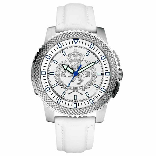 Marc Ecko Mens The Collegiate Stainless Steel Case White Dial Leather Coin Edged Watch E10566G1
