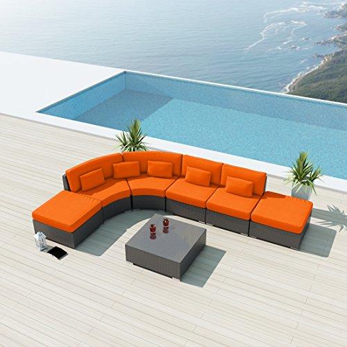 NEW Uduka Minbari 7pcs Outdoor Round Orange Sectional Patio Furniture Espresso Brown (Modern Round Sectional)