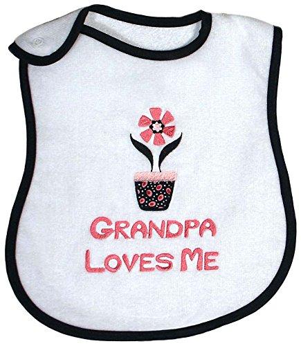Raindrops Grandpa Loves Me Embroidered Bib, Black