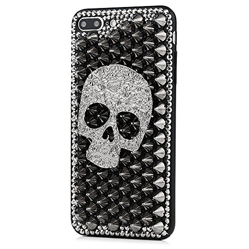 Crystal Skull Case Black (STENES iPhone 8 Plus Case - 3D Handmade Luxury Series Crystal Punk Rivet Big Skull Sparkle Rhinestone Cover Bling Case for iPhone 7 Plus/iPhone 8 Plus Retro Bows Dust Plug - Black)