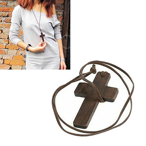 Enjoydeal Fashion Women Lady Necklace Sweater Chain Wood Cross and Leather - Dior.co.uk