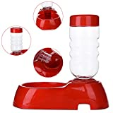 2 in 1 Pet Automatic Bottle Water Drinking Dispenser Feeder Puppy Dog Cat Plastic Bowl Dual Dish Fountain Diet Utensils 400ml by Awtang Random Color