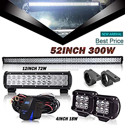 DOT 52Inch Led Light Bar + 12Inch Led Light Bar + 4Inch Led Lights w/Rocker Switch Wiring Harness Tube Clamp Mounting for Trailer Boat SUV ATV Jeep Wrangler Dodge Chevy Ford Tractor Toyota Truck
