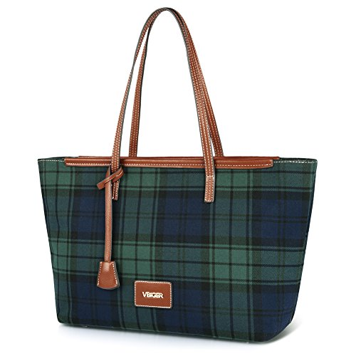 Vbiger spalla della borsa delle donne della tela di canapa alla moda con strisce multicolori (Verde)