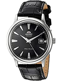 Men's '2nd Gen. Bambino Ver. 1' Japanese Automatic Stainless Steel and Leather Dress Watch, Color:Black (Model: FAC00004B0)