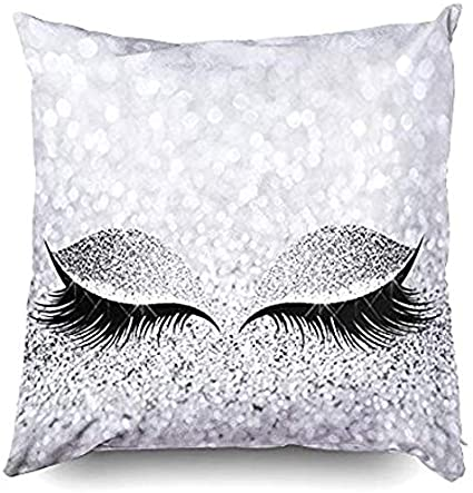 Pillow Case Glitter Eyelash Lash Car Sofa Throw Cushion Cover Home Decor Gifts