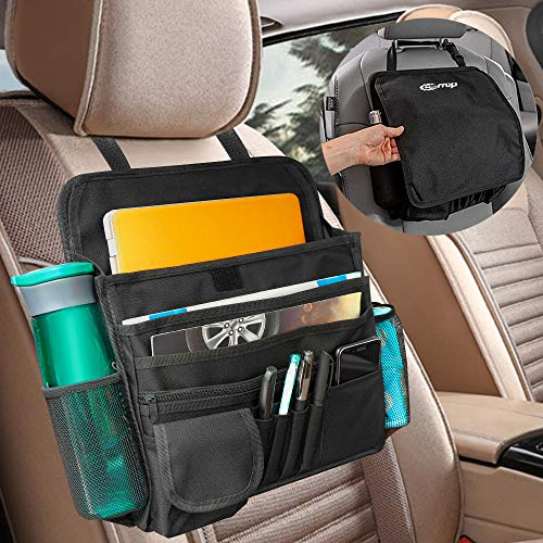 Helen Butler Car Front Passenger Seat Organizer – 16 Storage Pockets for Laptop/iPad/File Storage – Adjustable Strap, Strong Buckles, Reinforced Corners for Front & Back Seat Car Organizer