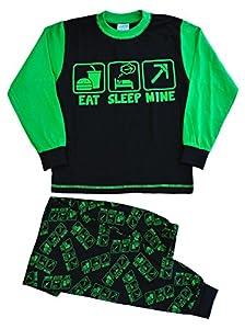 Boy's Eat Sleep Mine Pajamas All Over Print 7 to 14 Years