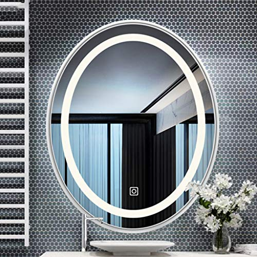 LED Lighted Bathroom Mirror, Oval Wall Mounted Makeup Vanity Mirror,Modern Touch Wall Mirror with Switch, Bedroom Home Furniture