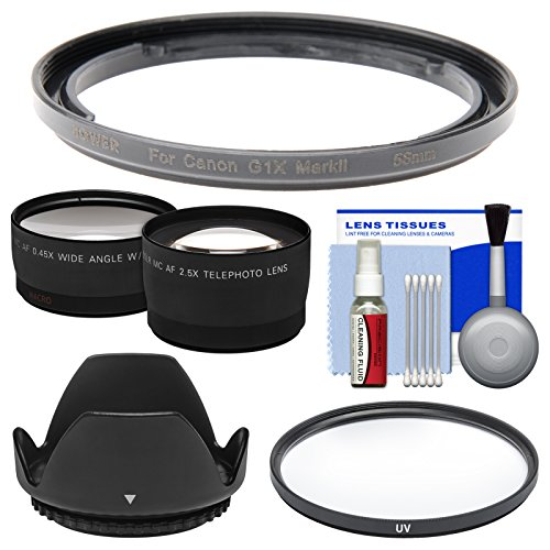 Bower FA-DC58E Conversion Adapter Ring for Canon PowerShot G1 X Mark II Camera (58mm) with Lens Hood + Tele/Wide Lenses + UV Filter + Accessory Kit by Bower