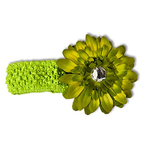 Infant Toddler Girls Crocheted Headbands with Bejeweled Daisy Flower Clip (Bejeweled Tank)