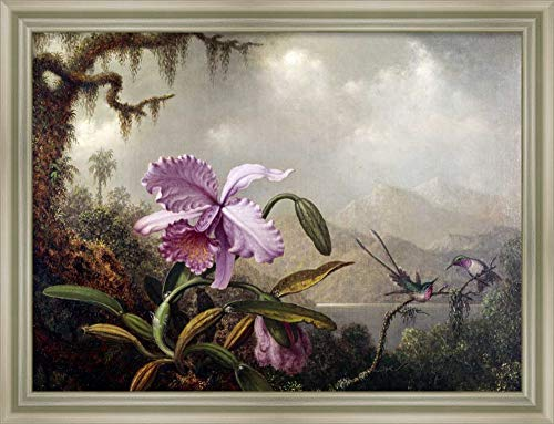 Framed Canvas Wall Art Print | Home Wall Decor Canvas Art | Hummingbirds and Orchids by Martin Johnson Heade | Modern Decor | Stretched Canvas Prints ()