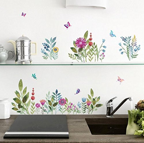Wall Sticker,Fheaven Colorful Flowers Painting Decorative Painting Bedroom Living Room TV Wall Stickers Mural 70cmx50cm (Board Flowers Painting)