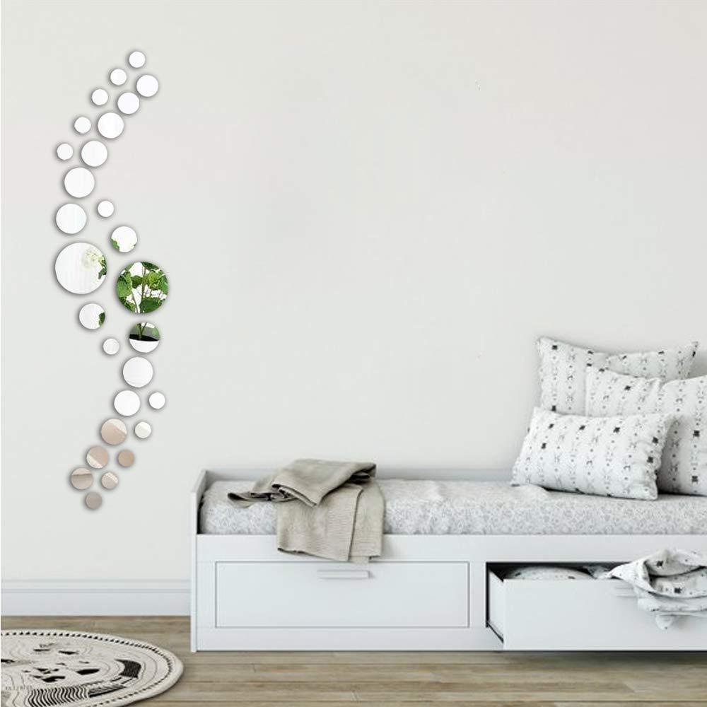 ATFUNSHOP Hauptdekoration-Wand-Spiegel-Aufkleber-runder Kreis 28 St/ücke unterschiedliche Gr/ö/ßen-Silber-Reflexion