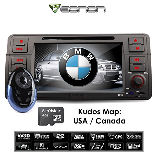 Eonon D5150u 7 Inch Single DIN Car DVD Player with GPS System for BMW E46 3 Series 1998-2005, Support Bluetooth and Ipod, Touch Screen, Free Map for Us & Canada