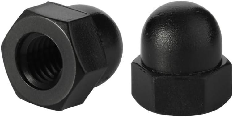 M6-1.00 Acorn Nuts Nylon Hex Cap Nut Inner Threaded Protection Cover Black Quantity 25