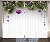 Ambesonne Christmas Curtains, Tree with Tinsel and Ball with Present Wrap Ribbon Celebration Picture, Living Room Bedroom Window Drapes 2 Panel Set, 108 W X 90 L Inches, Purple Grey Green For Sale
