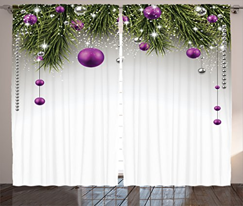 Ambesonne Christmas Curtains, Tree with Tinsel and Ball with Present Wrap Ribbon Celebration Picture, Living Room Bedroom Window Drapes 2 Panel Set, 108 W X 90 L Inches, Purple Grey Green