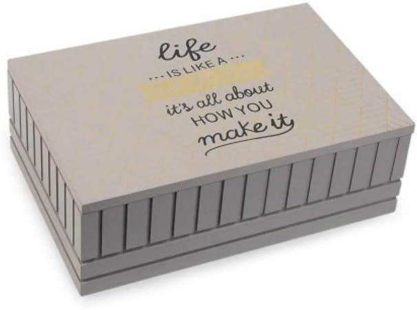 CAPRILO Caja de Madera Decorativa para Te e Infusiones Life. Cajas Multiusos. Menaje de Cocina. Regalos Originales. Decoración Hogar. 8 x 24 x 16 cm.: Amazon.es: Hogar