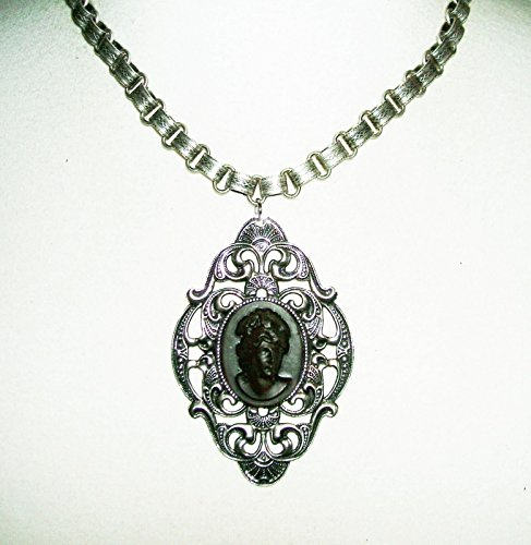 CAMEO LADY Necklace Victorian Book Chain SILVER Plated Bookchain RAISED RELIEF Design (Raised Plated Silver)