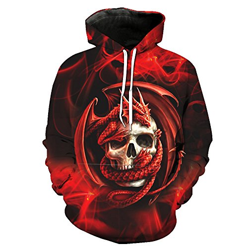 Couple Thin Hoodies Dragon Skull Printed Hooded Women Sweatshirt Men Hoody M
