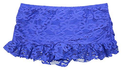 Ruffled Lace Bottom (Kenneth Cole Reaction Crochet Lace Ruffled Swim Skirt, Ocean,)