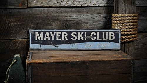 Custom Water Ski Club Est. Date Wooden Sign - 11.25 x 60 Inches