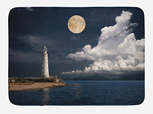 Ambesonne Moon Bath Mat, Old Lighthouse by The Sea with White Clouds and Calm Ocean Landscape Photo, Plush Bathroom Decor Mat with Non Slip Backing, 29.5 W X 17.5 L Inches, Dark Blue Ivory White