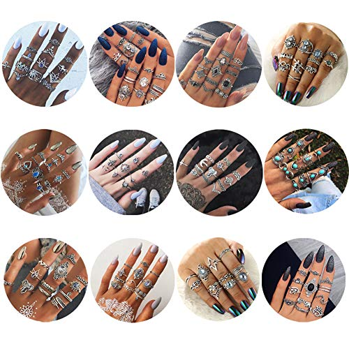 WAINIS Vintage Knuckle Ring Set for Women Girls Stackable Hollow Carved Flowers Midi Finger Ring Set 10-149 pCS
