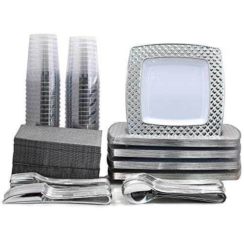 320 Piece Disposable Plastic Tableware Package White Square Diamond Pattern Silver Trim for Weddings, Parties Includes Heavy Duty Dinner, Salad Plates, Cups, Cutlery, Lunch Napkins (Party of 40)