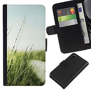 JackGot ( Natura Bella Forrest Verde 20 ) Sony Xperia Z3 D6603 la tarjeta de Crédito Slots PU Funda de cuero Monedero caso cubierta de piel