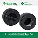 2 - Bissell Inner & Washable Outer Filters. Designed by FilterBuy to fit Easy Vac Model #s 23T7, 23T74, 23T7E, 23T7F, 23T7G, 23T7W & 23T7Y. Replaces Part # 203-7593.