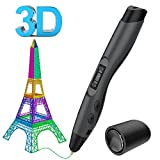 Tecboss 3D Pen w/PLA Filament Refills, Professional 3D Printing Pen with OLED Display, USB Charging, Temperature Control, 8 Speed Printing Control