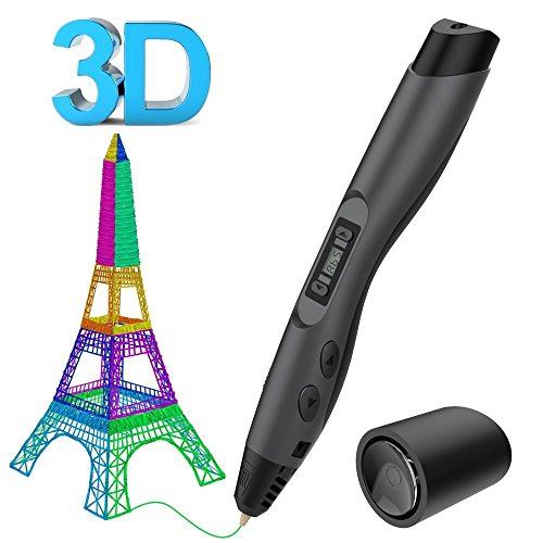 Tecboss 3D Pen w/PLA Filament Refills, Professional 3D Printing Pen with OLED Display, USB Charging, Temperature Control, 8 Speed Printing Control by Tecboss