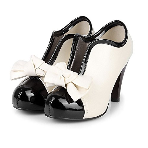CoolCept Women Fashion Bow High Heel Boots Court Shoes Beige VkZcJfm