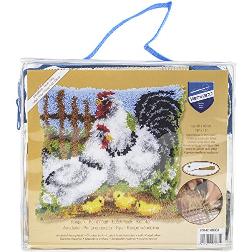 Vervaco Chicken Family on a Farm Cushion Latch Hook Kit, 16
