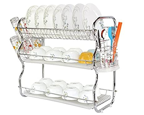3-Tier Dish Drainer drying Rack and DrainBoard Kitchen Chrome Rustproof Dish Cup Drying  sc 1 st  Amazon.com & Amazon.com: 3-Tier Dish Drainer drying Rack and DrainBoard Kitchen ...