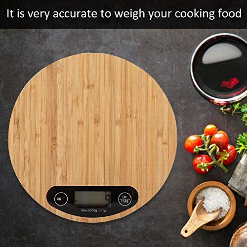 Weighing Scale Food Grams, Round Bamboo LED Display Electric Kitchen Weighing Scale Cooking Food 5kg/ 1g