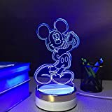 Kitchen Decor Items E-Global Mickey Mouse USB Touch Night Lamp 3D Table Lamps 3 Color Changing LED Lamp Home Decor Customized Gift for Children
