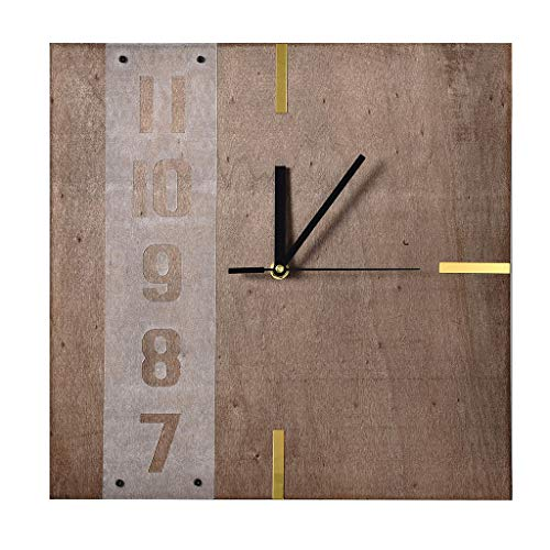 (Redvive Top Unique Creative Design Wooden Square Wall Clock with Wood Grain)