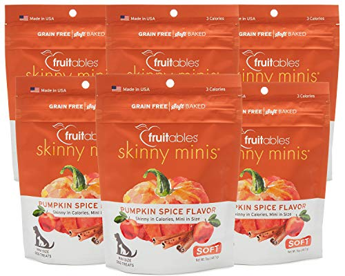 Fruitables 5 Ounce Skinny Minis Pumpkin Spice Soft and Chewy Dog Treats Pack of 6