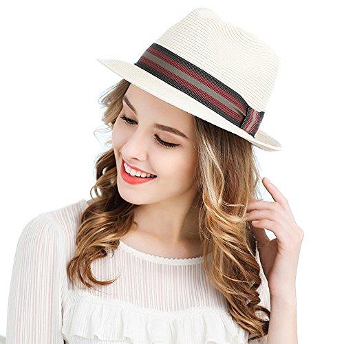 7f5eb96396a414 ... ストローハット UVカット 帽子 レディース メンズ 夏 耐久サービス. アンミダ(ANMIDA)遮へい率90%以上! 折りたためる新素材の 麦わら