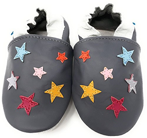 MiniFeet Premium Weich Leder Babyschuhe - Verschiedene Stile - Jungen und Mädchen Babyschuhe - Neugeborene bis 3-4 Jahre kleine Sterne