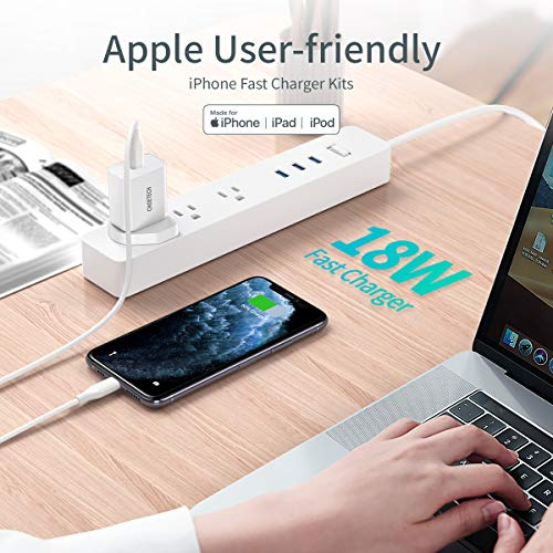 CHOETECH USB C Charger, 18W 3A USB C Wall Charger with Power Delivery 3.0 USB C to Lightning Cable Type C Adapter for iPhone Xs/XS Max/XR/X/8/7/6/Plus,iPad Pro/Air 2/Mini 4 And More