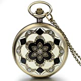 JewelryWe Romantic Mothers Day Gift Peach Blossom Floral Woman Pocket Watch Pendant Necklace with Chain in Gift Bag