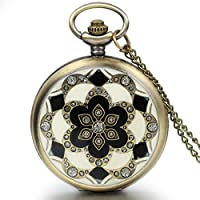 JewelryWe Romantic Peach Cherry Blossom Floral Woman Men Pocket Watch Pendant Necklace with Chain in Gift Bag